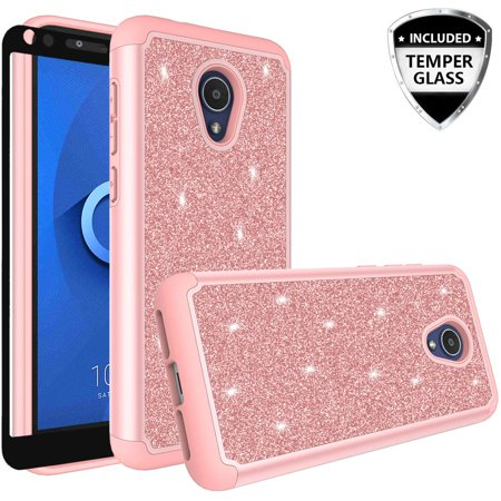 For Tracfone Alcatel TCL LX (A502DL),Alcatel 1X Evolve,IdealXTRA (5059R) Case Cover w/[ Temper Glass Screen Protector] Silicone Shock Proof Dual Layer Cute Girls Women for Alcatel TCL LX - Rose Gold