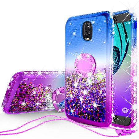- Cute Glitter Bling Diamond Bumper Ring Stand Phone Case for Samsung Galaxy J7 Star Case,J7 Crown Case,J7v 2nd Gen,J7 2018,J7 Refine Case, Clear Kickstand Case Girls Women - Purple/Blue