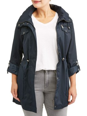 Yoki Women's Plus Size Anorak Water Resistant Trench Jacket With Cinch Waist Adjuster And Removeable Hood