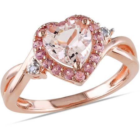1-1/3 Carat T.G.W. Morganite, Pink Tourmaline and Diamond-Accent Pink-Plated Sterling Silver Heart Ring