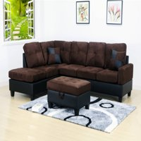 Beverly 3 pc Dark Brown 2 Tone Microfiber Living Room Left Facing Chaise Sectional set with Storage Ottoman