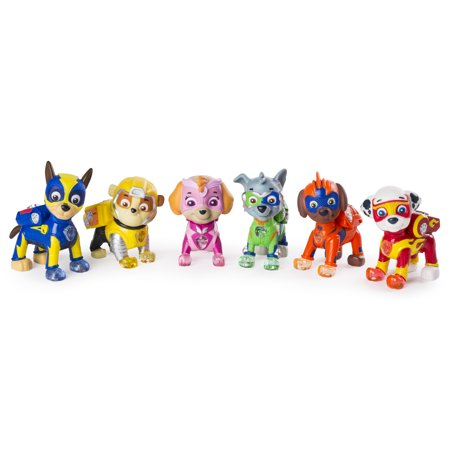 paw patrol - mighty pups 6-pack gift set, paw patrol figures with light-up badges and paws, wal