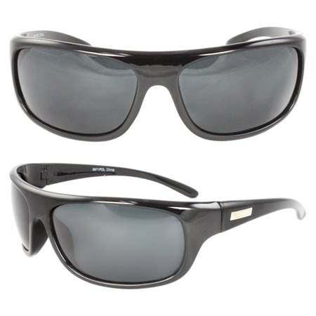 Polarized Wrap Around Fashion Sunglasses Black Frame Black Lenses for Men and