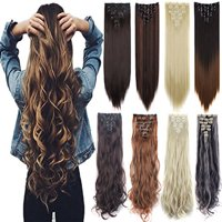 "FLORATA 24"" Curly Wave Clips in Synthetic Hair Extensions Hair pieces for Women Double  Weft 7 Piece Full Head"