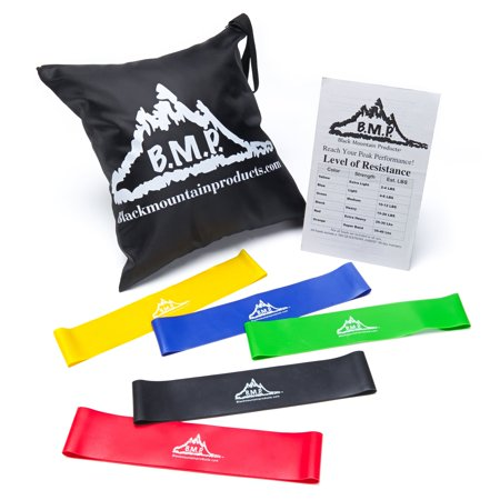 Black Mountain Products Loop Resistance Exercise Bands Set of 5 with Carrying (Foam Roller It Band Exercise)
