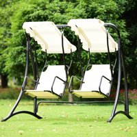 Gymax 2 Person Hammock Porch Swing Patio Outdoor Hanging Loveseat Canopy Glider Swing