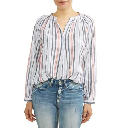 Dobby Stripe Shirt (Women's Woven Dobby Popover Top )