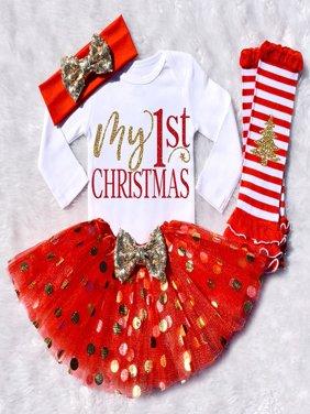 Infant Baby Girls My First Christmas Tutu Dress Skirt Romper Headband Outfit Set