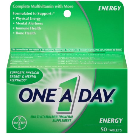 One A Day Energy, Multivitamin Supplement including Caffeine, Vitamins A, C, E, B1, B2, B6, B12, Calcium and Vitamin D, 50 ct. Day Energy Multi Vitamin