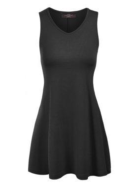 MBJ WT827 Womens Sleeveless V Neck Dress Top XL BLACK