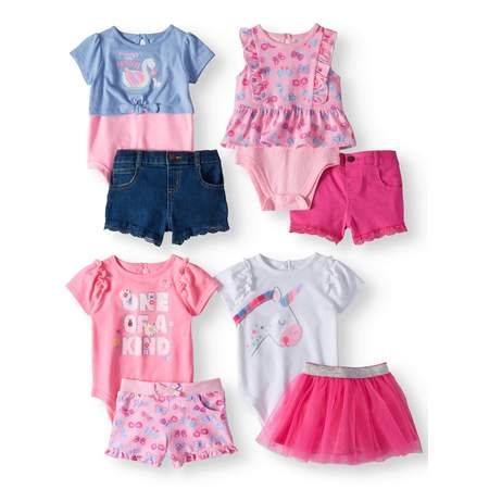 Garanimals Mix & Match Outfits Kid-Pack Gift Box, 8pc Set (Baby Girls) Babys 1st Christmas Outfit