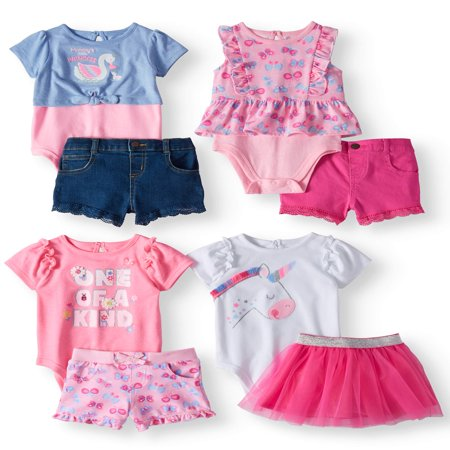 Garanimals Mix & Match Outfits Kid-Pack Gift Box, 8pc Set (Baby Girls) - Kids Chicken Outfit