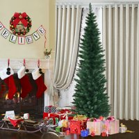 Costway 5Ft6Ft7Ft9Ft PVC Artificial Pencil Christmas Tree Slim w/ Stand Home Holiday Decor Green