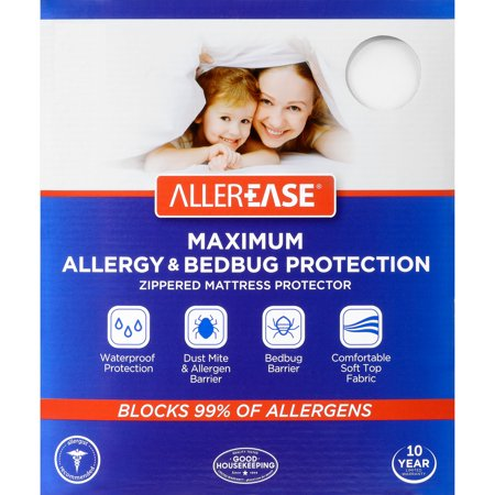 AllerEase Maximum Allergy & Bed Bug Protection Zippered Mattress Protector, 1 (Allerzip Mattress Cover)