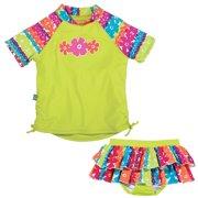 21686666dd Sun Smarties Baby Girl Swim Diaper Skirt and Rashguard - Lime Green and  Floral Design -