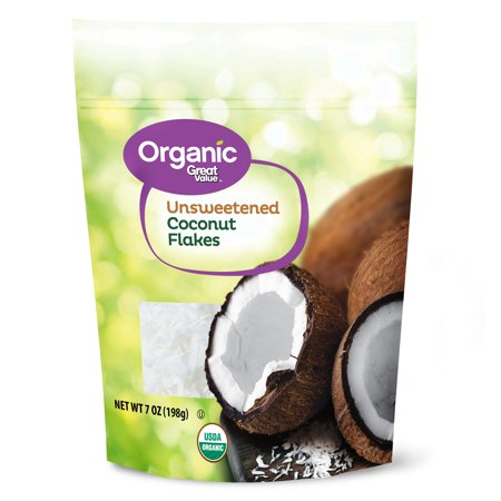 Organic Shredded Coconut (Great Value Organic Unsweetened Coconut Flakes, 7 oz)