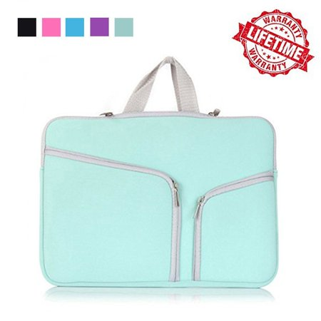 IClover 13 Inch Waterproof Thickest Protective Slim Laptop Case for Macbook Apple Samsung Chromebook HP Acer Lenovo Portable Laptop Sleeve Liner Package Notebook Case Bag Soft Green Bag (Laptop Sleeve Pink Hearts)