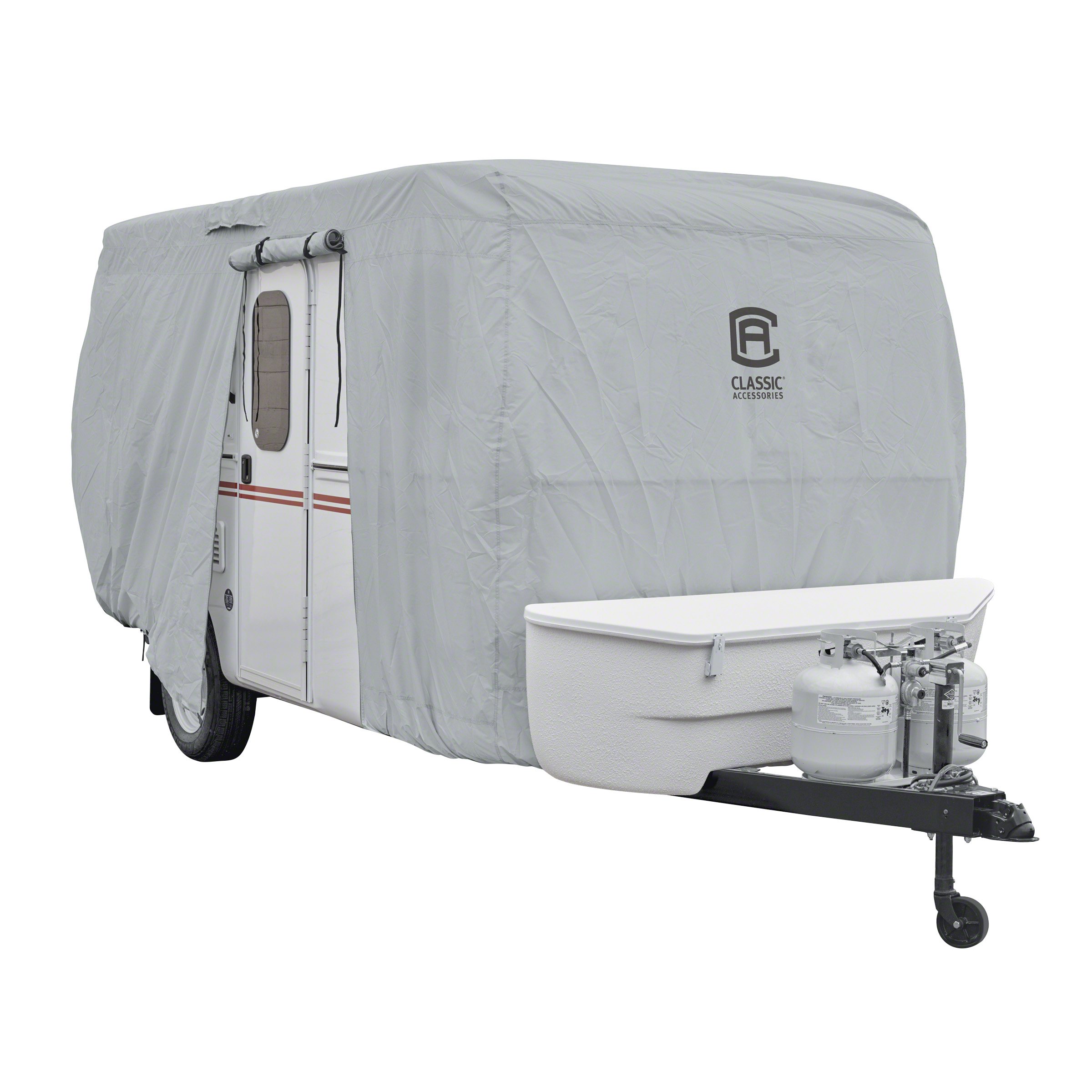Fits 20-Feet Classic Accessories 73263 Polypro III Deluxe Grey Travel Trailer Cover Grey 22-Feet