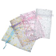 Assorted Silver & Gold Design Organza Drawstring Gift Bags 3x4 Inch (12 Bags )