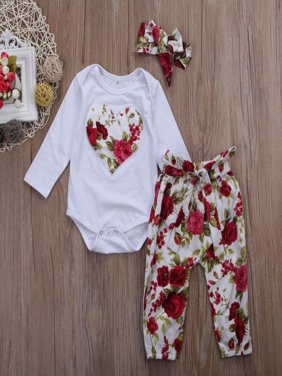 Toddler Clothing Set Fashion Newborn Baby Girl Floral Clothes Long Sleeve Cotton Romper Jumpsuit Bodysuit + Long Pants Outfits