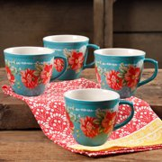 df746a6d6b7 The Pioneer Woman Vintage Floral Teal 16-Ounce Mug Set, Set of 4