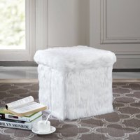 Mainstays Faux Fur Collapsible Storage Ottoman