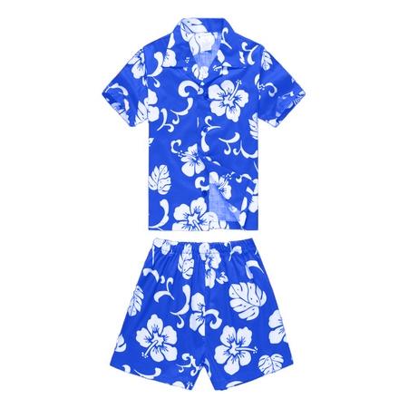 Boy Hawaiian Aloha Luau Shirt and Shorts 2 Piece Cabana Set in Royal Blue Hibiscus 6 Year - Royal Blue Two Piece