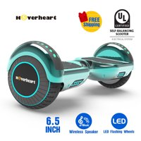 "Hoverboard 6.5"" LED Bluetooth Speaker Self Balancing Wheel Electric Scooter-Chrome Turquoise"