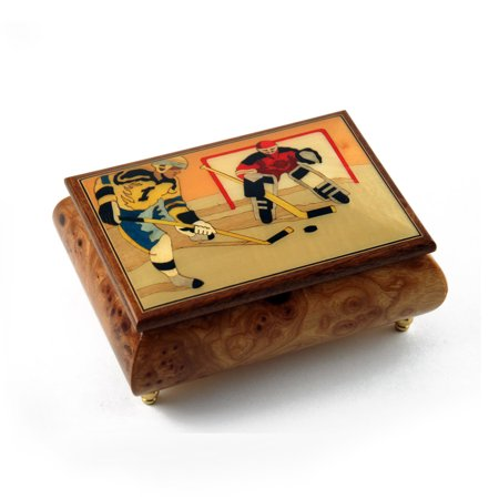 Sports Theme Wood Inlay: Hockey - Collectible 18 Note Musical Jewelry Box - Anniversary Song