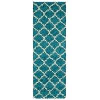 Ottomanson Ultimate Shaggy Contemporary Moroccan Trellis Design Area Rug