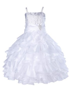 Ekidsbridal Elegant Stunning Rhinestone Organza Layers Flower Girl Dress Junior Bridesmaid Recital Easter Holiday Gown Birthday Girl Dress Communion Formal Clothing Baptism 164s white 16