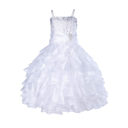 Ekidsbridal Elegant Stunning Rhinestone Organza Layers Flower Girl Dress Junior Bridesmaid Recital Easter Holiday Gown Birthday Girl Dress Communion Formal Clothing Baptism 164s white 16](Old Fashioned Communion Dresses)
