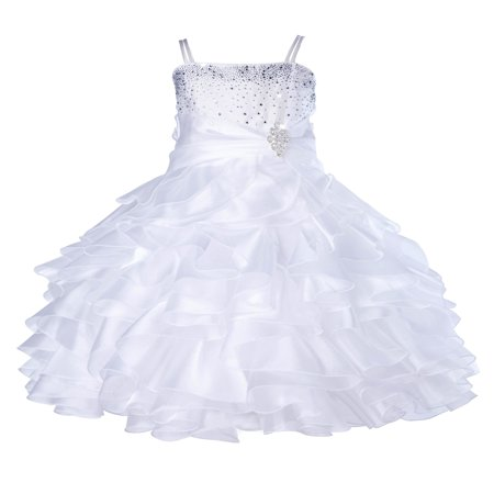 Ekidsbridal Elegant Stunning Rhinestone Organza Layers Flower Girl Dress Junior Bridesmaid Recital Easter Holiday Gown Birthday Girl Dress Communion Formal Clothing Baptism 164s white 16](Girl Dress Flower)