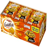 Pepperidge Farm Goldfish Flavor Blasted Xtra Cheddar Crackers, 10.8 oz. Multi-pack Tray, 12-count 0.9 oz. Single-Serve Snack Packs