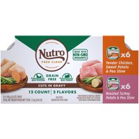 NUTRO Wet Dog Food Grain Free Cuts in Gravy Variety Pack, Tender Chicken, Sweet Potato & Pea Stew, Roasted Turkey, Potato & Pea Stew, (12) 3.5 oz. Trays