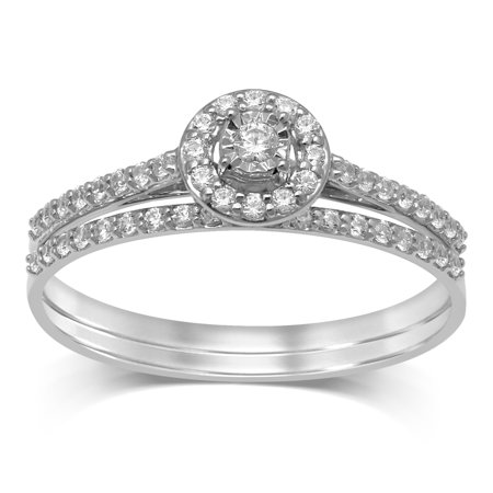 Diamond Jewel 10K White Gold 1/4 Cttw Diamond Halo Bridal Set