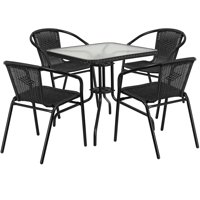 Flash Furniture 28'' Square Glass Metal Table with Rattan Edging and 4 Black Rattan Stack Chairs, Multiple Colors