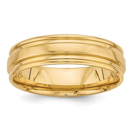 14k Yellow Gold Heavy Comfort Fit Fancy Wedding Band Size 10