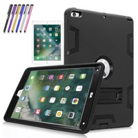 New iPad 9.7 Tablet Case, Mignova Heavy Duty rugged Hybrid Protective Case with Kickstand for iPad 9.7 5th/6th Generation 2017/2018 A1822/A1823 + Screen Protector Film and Stylus Pen (Black / Black)