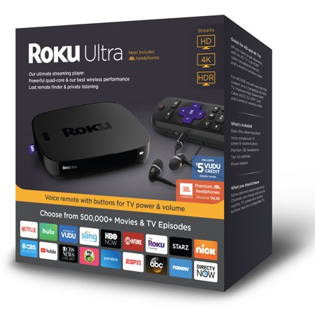 Roku Ultra 4K HDR Streaming Player (2018) with JBL headphones - WITH 30-DAY FREE TRIAL OF SLING INCLUDING CLOUD DVR ($40+
