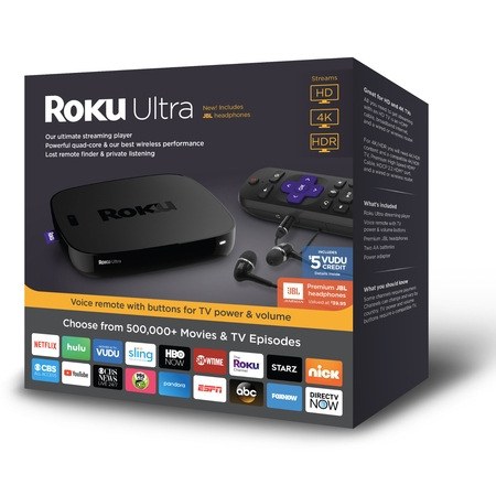 Roku Ultra 4K HDR Streaming Player (2018) with JBL headphones - WITH 30-DAY FREE TRIAL OF SLING INCLUDING CLOUD DVR ($40+ VALUE)