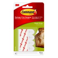 Command Poster Strips, White, Small, 12 Strips/Pack