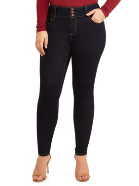 Juniors' Plus Size 3-Button Push-Up Skinny Jegging