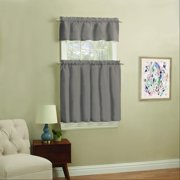 Mainstays Solid Kitchen Window Curtain Tier and Valance Set