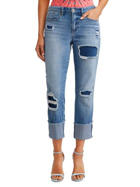 Veronica Destructed Cuffed Straight High Waist Jean Women's (Light Indigo Wash)