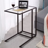 Costway Coffee Tray Side Sofa End Table Ottoman Couch Stand TV Lap Snack W/Glass Top New