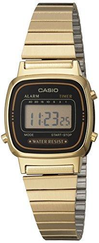 Women's LA670WGA-1DF Daily Alarm Digital Gold-tone Watch