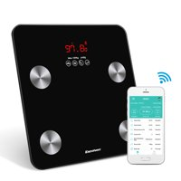 Bluetooth Body Fat Scale, Excelvan Smart Wireless Digital Bathroom Weight Scale Body Composition Analyzer Health Monitor with iOS and Android APP for Body Weight, Fat, Water, BMI, BMR, Muscle Mass
