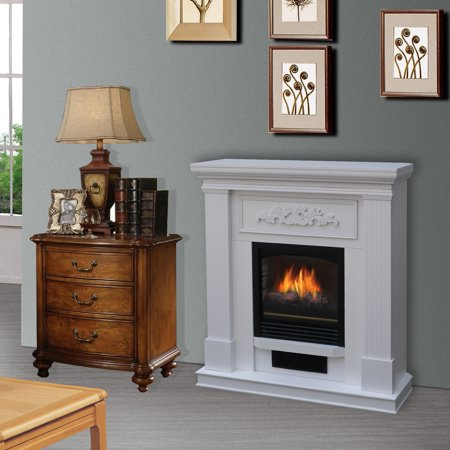 Bold Flame 38 Inch Wall Corner Electric Fireplace Heater In White
