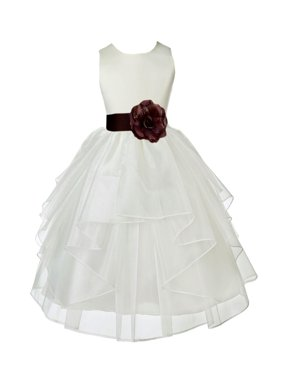 Ekidsbridal Formal Satin Shimmering Organza Ivory Flower Girl Dress Bridesmaid Wedding Pageant Toddler Recital Easter Communion Graduation Reception Ceremony Birthday Baptism Occasions 4613s